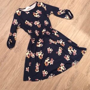 Floral navy midi dress with 3/4 sleeves